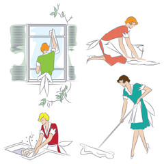 Vector illustration. Girl doing housework in the apartment.