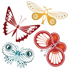 Vector butterflies for tattoo, advertisements, greeting card