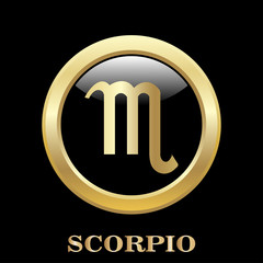 Scorpio zodiac sign in circle frame