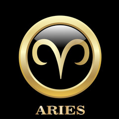 Aries zodiac sign in circle frame