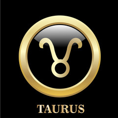 Taurus zodiac sign in circle frame