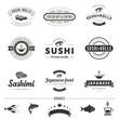 Sushi Rolls Sashimi Vintage Labels Hipster Logo design - 78564510