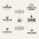 Gin Hipster Logo design vector typography lettering Label - 78564515