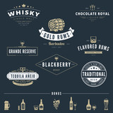 Alcohol Retro Vintage Labels Hipster Logo design vector poster