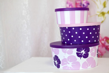 Three purple gift box