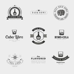 Rum Retro Vintage Labels Hipster Logo design vector