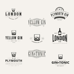 Gin Hipster Logo design vector typography lettering Label