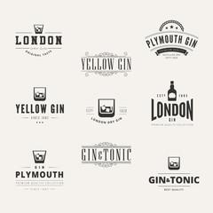 Gin Hipster Logo design vector typography lettering Label