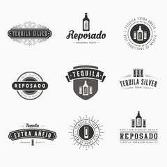 Tequila Retro Vintage Labels Hipster Logo design vector