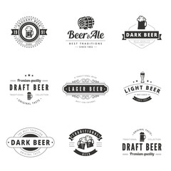 Beer Retro Vintage Labels Hipster Logo design vector typography