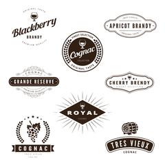 Cognac Brandy Retro Vintage Labels Hipster Logo design