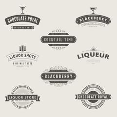 Liquore Retro Vintage Labels Hipster Logo design vector