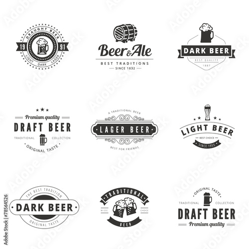 Beer Retro Vintage Labels Hipster Logo design vector typography - 78564526