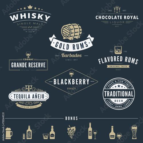 Alcohol Retro Vintage Labels Hipster Logo design vector - 78564531