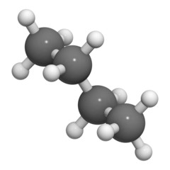 Butane, molecular model