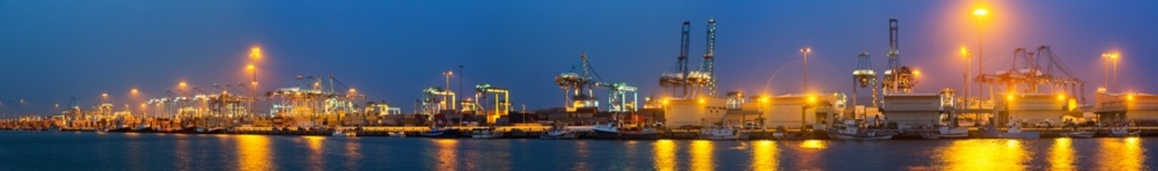 Evening view of  Port with cranes and containers
