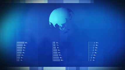 Animated Infographics Histogram Bar Graph Charts and Earth Map