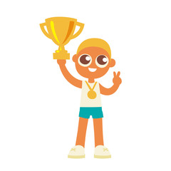championship winner boy hold a golden goblet