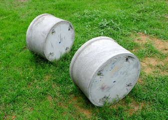 Concrete pipes on the grass