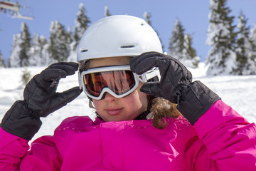 Girl with ski goggles