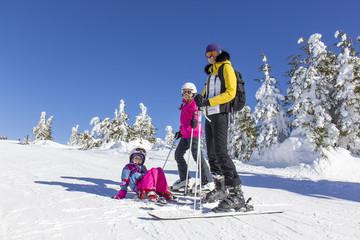 Family on the ski slope