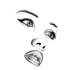 Hand-drawn fashion model portrait. Vector illustration.