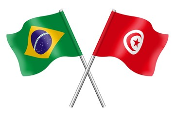 Flags: Brazil and Tunisia