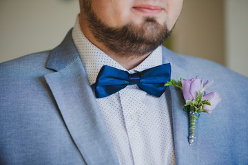Close-up of elegance groom with bow tie  and boutonniere