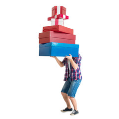 Man holding many colorful and heavy bags gift present boxes