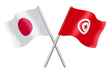 Flags: Japan and Tunisia