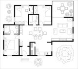 Black and White floor plan of a house. - 78566533