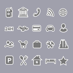 Icons for locations and services  airport shopping restaurant