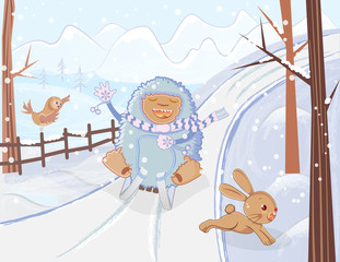 Sledding yeti winter fun cartoon illustration