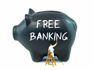 A piggy bank with the words free banking painted on the side