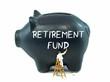 Leinwandbild Motiv A piggy bank with the retirement fund theme on the side