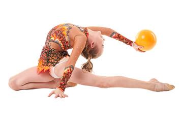 Art gymnastics. Flexible girl performing with ball