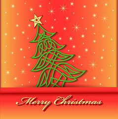 festive background with Christmas tree of Celtic weave pattern