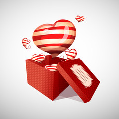 Happy Valentine's day open gift box and flow striped hearts