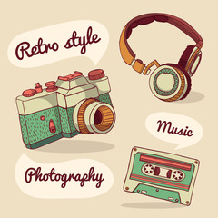 Set of retro items. Camera, headphones, audio cassette.Vector