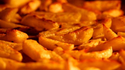 close up of sizzling fries