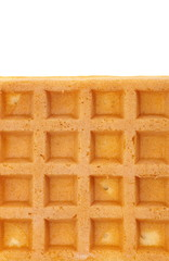 Close - up Delicious sweet waffle on white background