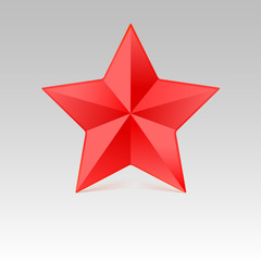 Five pointed star with shadow, red color.