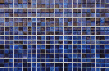 Blue mosaic tile wall seamless background and texture