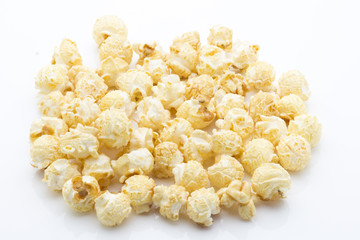 Popcorn isolated on the white background.