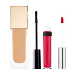 foundation, mascara, lip gloss isolated on white background