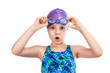 Portrait of a young girl in goggles and swimming cap. - 78568964