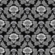 seamless damask pattern on black background