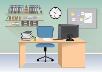 Interior office room cartoon, business concept