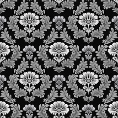 seamless damask pattern on black background