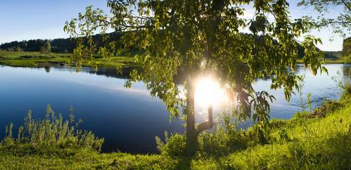 Пейзаж утро река солнце яркое отражение свет дерево панорама